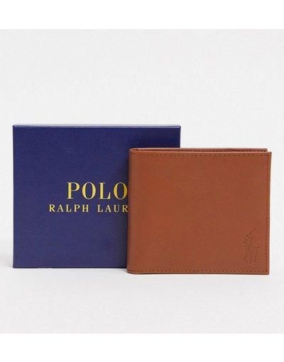 Portafoglio Marrone uomo Portafoglio di pelle a libro marrone - Polo Ralph Lauren