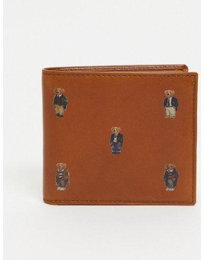 Portafoglio Cuoio uomo Portafoglio in pelle cuoio con orsi - Polo Ralph Lauren