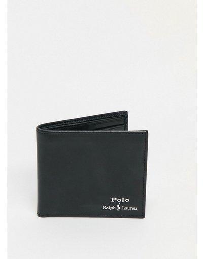 Portafoglio Nero uomo Portafoglio in pelle nera con logo laminato argento - Polo Ralph Lauren - Nero