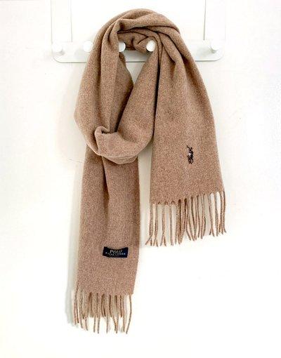 Cuoio uomo Sciarpa con logo in lana color cuoio - Polo Ralph Lauren