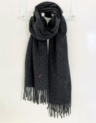 Grigio uomo Sciarpa grigia in lana con logo - Polo Ralph Lauren - Grigio