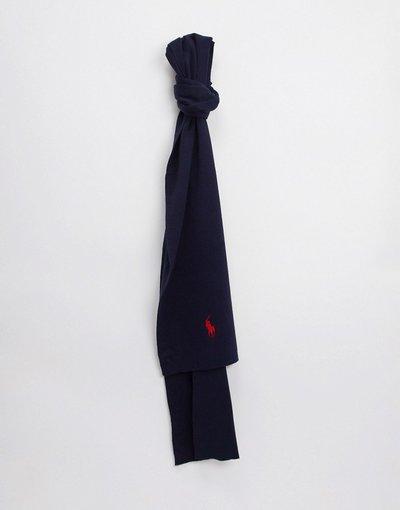 Navy uomo Sciarpa in cotone elasticizzato con logo blu navy - Polo Ralph Lauren