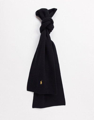 Nero uomo Sciarpa in lana merino nera con logo dorato - Polo Ralph Lauren - Nero