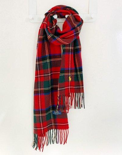 Rosso uomo Sciarpa in lana riciclata rossa a quadri scozzesi con logo - Polo Ralph Lauren - Rosso