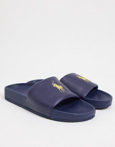 Novita Blu navy uomo Sliders blu navy con logo giallo - Polo Ralph Lauren