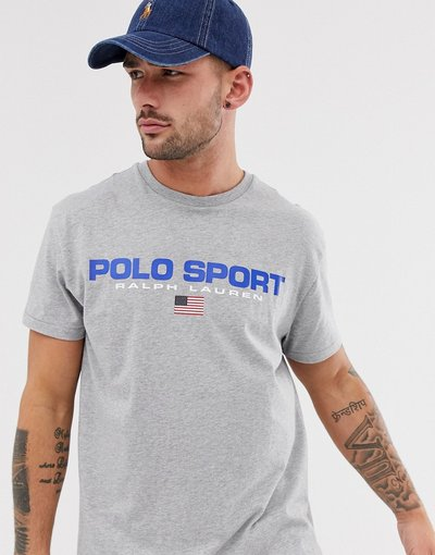 T-shirt Grigio uomo shirt rétro vestibilità classica custom fit grigio mélange con logo - Polo Ralph Lauren - Sport Capsule - T