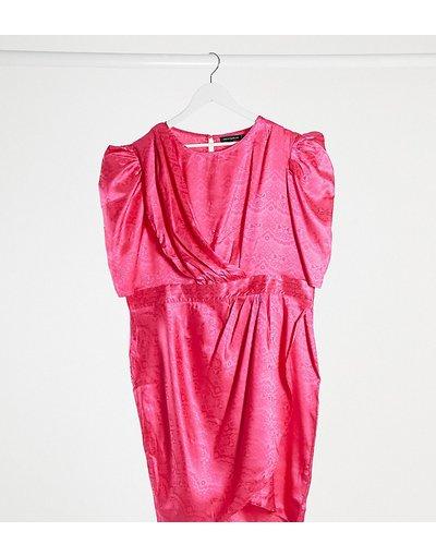 Rosa donna Vestito midi con pannello drappeggiato fucsia - Pretty Darling Plus - Rosa