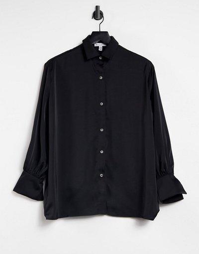 Camicia Nero donna Camicia nera con polsini oversize - Pretty Lavish - Nero