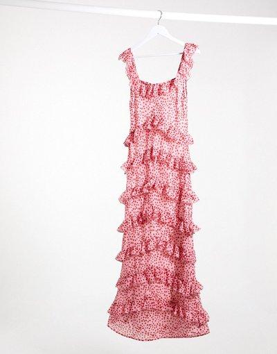 Eleganti pantaloni Multicolore donna Vestito con gonna al polpaccio e volant a strati rosa con stampa rossa a pois - Pretty Lavish - Multicolore