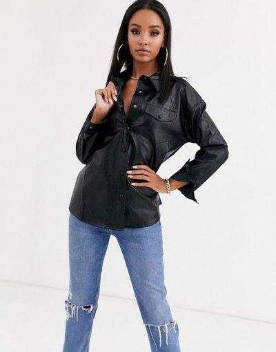 Camicia Nero donna Camicia nera in ecopelle - PrettyLittleThing - Nero