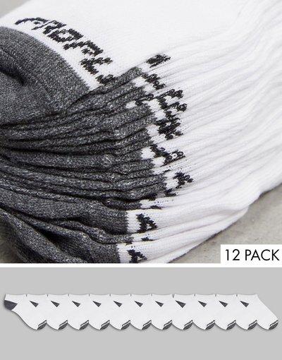 Intimo Bianco uomo Confezione da 12 paia di fantasmini da allenamento in bianco e grigio con cuscinetto - Pro Player