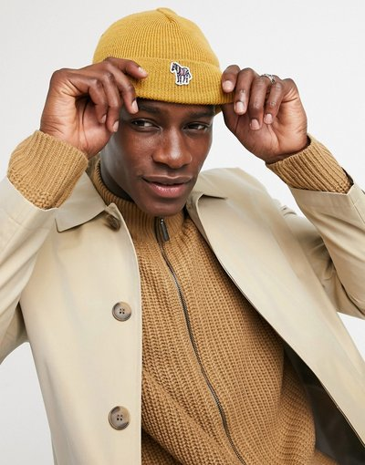 Cappello Giallo uomo Berretto senape con logo a zebra - PS Paul Smith - Giallo