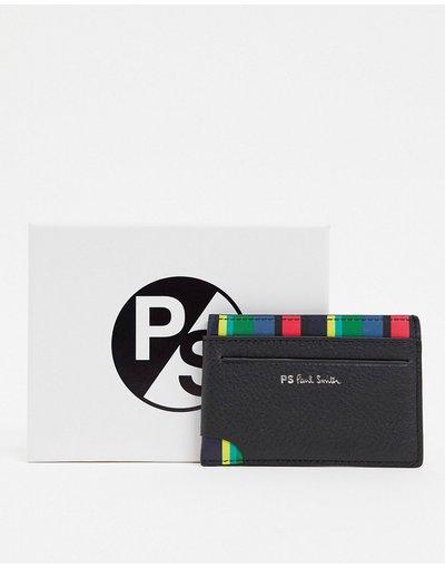 Portafoglio Nero uomo Porta carte in pelle con righe nero - PS Paul Smith