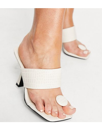 Sandali Crema donna Sandali con tacco modello infradito color osso effetto coccodrillo - Public Desire Wide Fit - Gaia - Crema