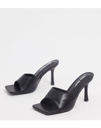 Sandali Nero donna Sabot con punta squadrata neri - Public Desire Wide Fit - Harlow - Nero