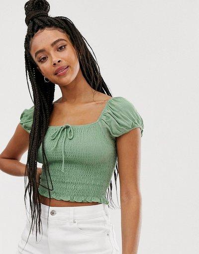 Camicia Verde donna Blusa arricciata verde - Pull&Bear