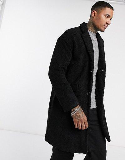 Nero uomo Cappotto lungo in pile borg nero - Pull&Bear