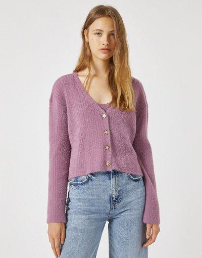 Rosa donna Cardigan corto soft touch rosa in coordinato - Pull&Bear