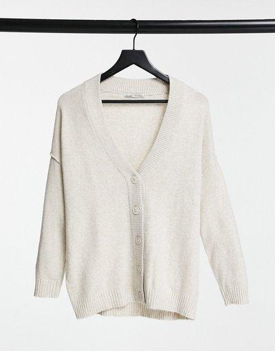 Bianco donna Cardigan lungo écru - Pull&Bear - Bianco