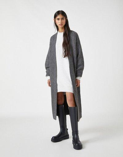 Grigio donna Cardigan lungo grigio - Pull&Bear