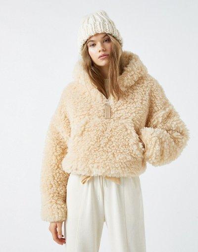 Bianco donna Giacca corta in pile borg écru - Pull&Bear - Bianco