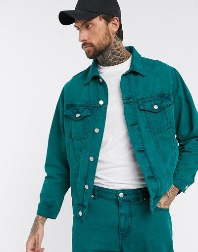 Verde uomo Giacca di jeans verde lavaggio acido in coordinato - Pull&Bear