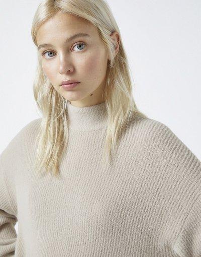 Beige donna Maglione accollato soft touch color pietra - Pull&Bear - Beige