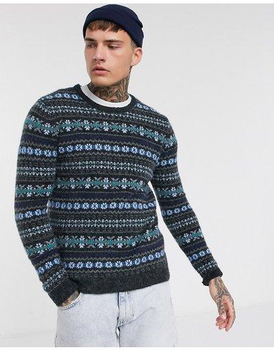 Grigio uomo Maglione con dettagli lavorati blu navy/grigio - Pull&Bear