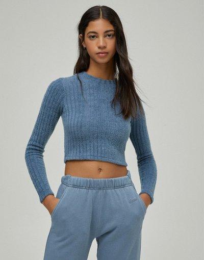 Blu donna Maglione corto a coste blu navy - Pull&Bear