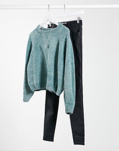 Verde donna Maglione girocollo in ciniglia verde - Pull&Bear