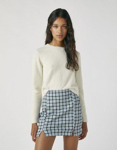 Bianco donna Maglione girocollo soffice color écru - Pull&Bear - Bianco