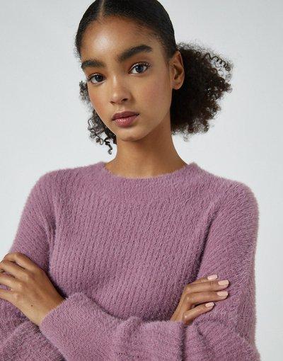 Rosa donna Maglione girocollo soft touch color lampone - Pull&Bear - Rosa