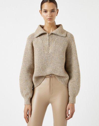 Marrone donna Maglione in maglia grossa marrone con zip corta - Pull&Bear