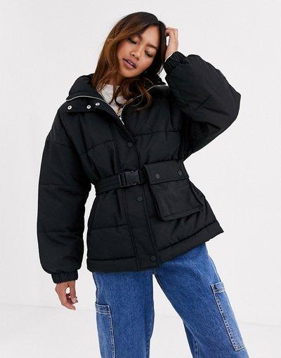 Nero donna Piumino nero con cintura - Pull&Bear