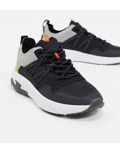 Stivali Nero uomo Sneakers chunky nere con pannelli tono su tono - Pull&Bear - Nero