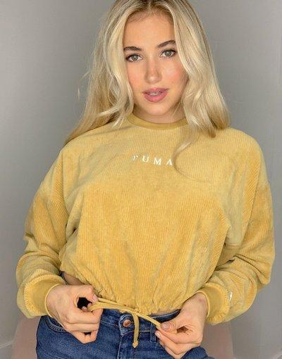 Giallo donna Maglione corto a coste color senape - Giallo - Puma