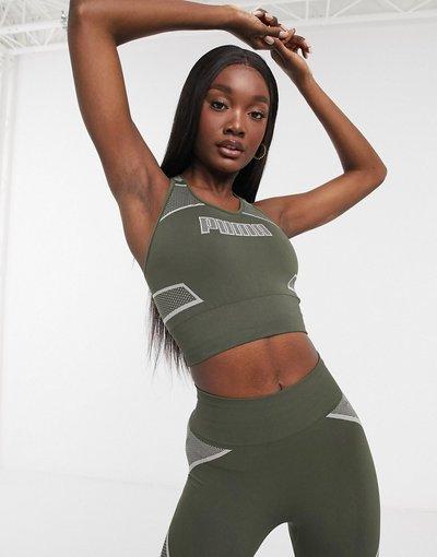 Verde donna Reggiseno modellante senza cuciture kaki - Puma Training - Verde