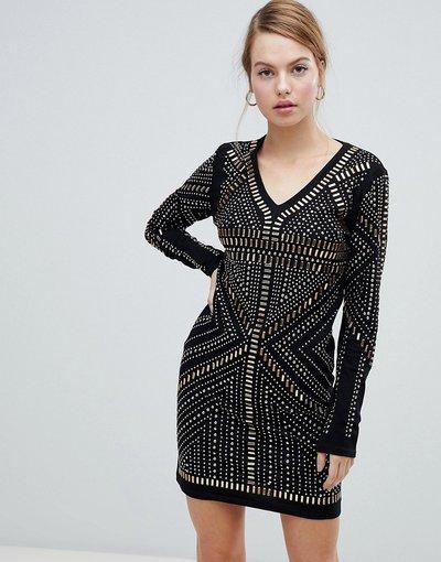 Nero donna Vestito decorato con scollo a V - QED London - Nero