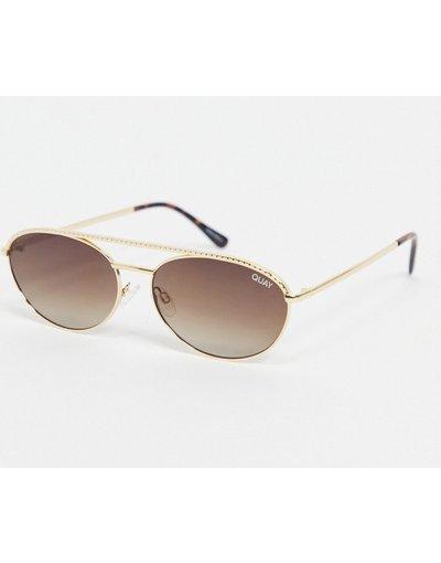 Occhiali Oro uomo Occhiali da sole ovali slim oro da donna - Easily Amused - Quay