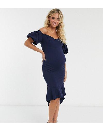 Maternita Blu donna Vestito a fascia midi premaman con spalle scoperte maniche a sbuffo e fondo a peplo blu navy - Queen Bee