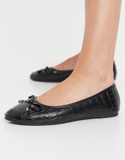 Scarpa bassa Nero donna Ballerine nere effetto coccodrillo - Emma - RAID - Nero