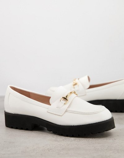Scarpa bassa Bianco donna Mocassini bianchi con suola spessa e morsetto dorato - Empire - Bianco - RAID