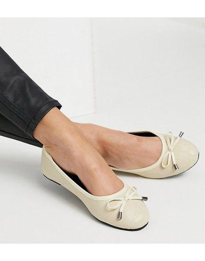 Scarpa bassa Crema donna Ballerine color osso effetto coccodrillo a pianta larga - RAID Wide Fit - Emma - Crema