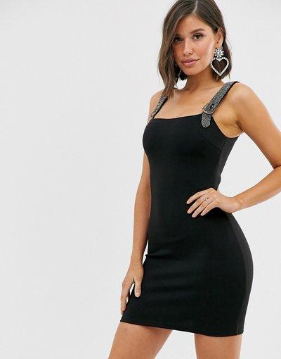 Nero donna Vestito a fascia nero con spalline di strass - London - Rare