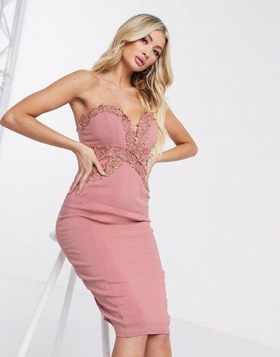 Rosa donna Vestito a fascia senza spalline rosa - Rare London