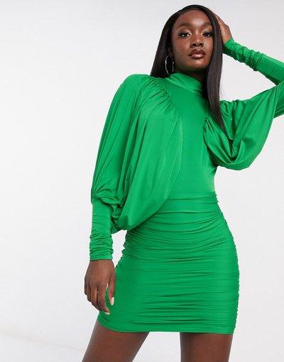 Verde donna Vestito corto accollato con maniche ad ali di pipistrello verde - Rare London