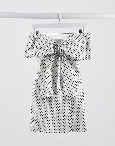 Bianco donna Vestito corto con fiocco a pois - Rare London - Bianco