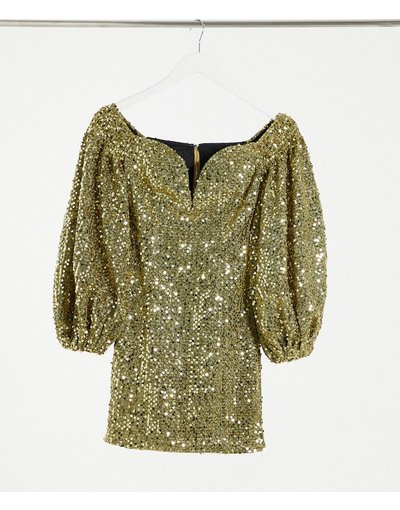 Oro donna Vestito corto con paillettes oro - Rare London