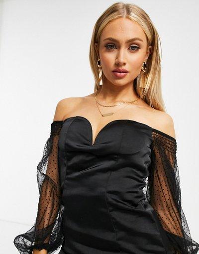Nero donna Vestito corto con scollo profondo in raso nero con maniche in organza - Rare London
