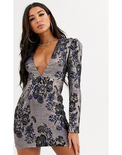 Blu donna Vestito corto in jacquard con scollo profondo - Rare London - Blu